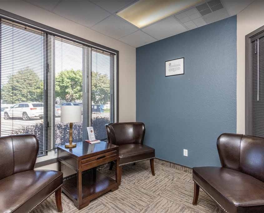 modern waiting area with leather chairs at waterloo eye doctor advanced family eye care