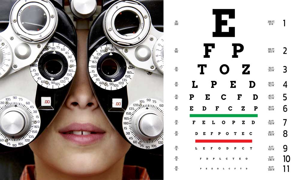 illustration of a refraction assessment for diagnosing myopia. pictured left is a close up image of a child staring through a bulky device with multiple lenses, called a phoropter. Pictured right is a poster containing rows of letters that descend in size from top to bottom.